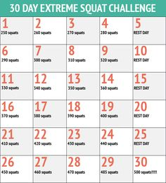30 Day Squats Fitness Challenge Chart  http://30dayfitnesschallenges.com/classes/30-day-extreme-squat-challenge/