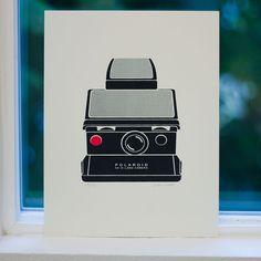 Polaroid SX70 Camera Illustration / Screenprint by byRobinina