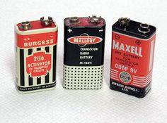 Vintage 9V Transistor Radio Batteries - Burgess, Mallory and Maxell.
