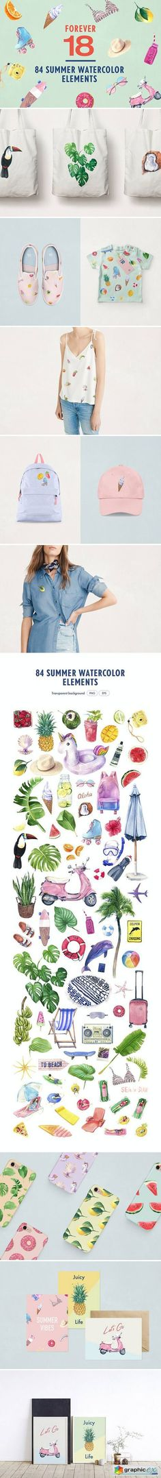 Forever 18 Summer Watercolor Bundle  stock images