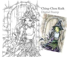 Wicked Musing - Digital Digi Stamp Instant Download / Witch Flying Monkey Fantasy Art by Ching-Chou Kuik