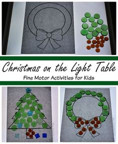 Christmas Fine Motor Activities on the Light Table! Make a Christmas Tree or wreath on the light table with your preschooler this holiday season! Simple loose parts play on the light table! Fine Motor Activities For Kids, Christmas Activities For Kids, Preschool Christmas, Noel Christmas, Christmas Items, Craft Activities, Christmas Lights, Christmas Movies, White Christmas