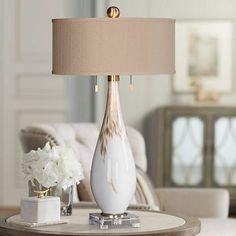 Uttermost Cardoni Gloss White Hand-Blown Glass Table Lamp - #9W435 | Lamps Plus