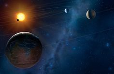 Artist's illustration of a four-planet system. Image credit: Mark A. Garlick, University of Warwick / Space-art.co.uk.