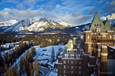 The view from the top of the Banff Springs Hotel in the winter.