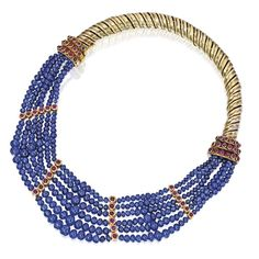 Gold, silver, sapphire bead and ruby necklace, René Boivin, France
