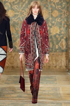 The statement coat and pant: inspired by Moroccan tapestries #toryburch #toryburchfall15  #nyfw