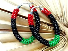 Beaded Hoop Earrings -  Red Green Black - Afrocentric Jewelry -  Her Birthday Gifts - Hip Hop Jewelry - African Inspired - Oval Hoops by ChristalDreamz on Etsy