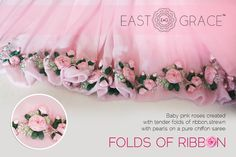 Pink Rose - This ethereal frosted baby #pink #chiffon #saree is adorned with…