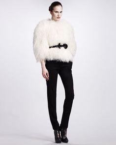 Alexander McQueen Shearling Jacket & Slim Zip-Ankle Pants