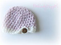 1 button newborn photo pale pink hat by pinkladybuggirl on Etsy, $16.00