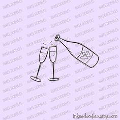 Champagne Bottle Glasses Wedding Toast Doodles Cute Retro Black Digital Stamp Clipart Set 30077, by Inkee Doodles, $5.50 USD for set of 17 design pieces, #Champagne #Bottle #Glasses #Wedding #Toast #Doodles #Cute #Retro #Black #DigitalStamp #Clipart #Set