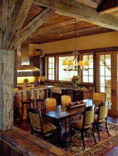 rustic kitchen. wood ceilings.