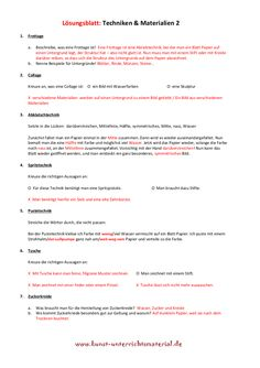 Kunsttechniken Grundschule Arbeitsblätter