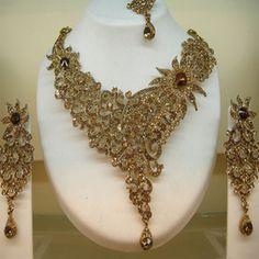 Rust American Diamond Studded Necklace Set