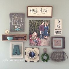 Living Room decor - rustic farmhouse style. Gallery wall   Our Vintage Nest on IG