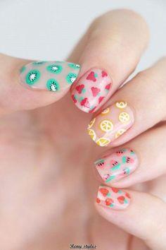 nail art diy * nail art designs ` nail art ` nail art designs for spring ` nail art videos ` nail art designs easy ` nail art designs summer ` nail art diy ` nail art tutorial Pretty Nail Art, Beautiful Nail Art, Diy Nail Designs, Acrylic Nail Designs, Fruit Nail Designs, Nail Designs For Kids, Cute Easy Nail Designs, Pedicure Designs, Cute Summer Nails