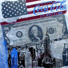 Flag & Dollar  100x100 Alu Flag, Personalized Items, Art, Pictures, Image Editing, Art Background, Kunst, Science, Performing Arts
