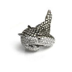 Cubic Zirconia Pave and Rhodium Plated Shark Ring. $175. http://noirjewelry.com/Rings/NatalietheShark/192