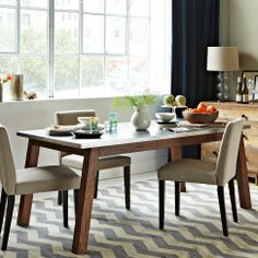Love this dining table! Stainless steel top makes it feel modern/industrial while solid wood base softens and adds warmth to the look. Solid Wood Table w/ Stainless Steel Top Steel Furniture, Dining Furniture, Furniture Design, Rustic Furniture, Wood Table Bases, Solid Wood Table, Farm Dining Table, Kitchen Tables, Dining Area