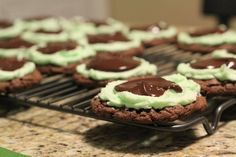 Chocolate Mint frosted cookies