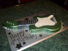 Guitar Birthday Cake #birthdaycake