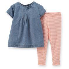 Toddler Girl 2-Piece Chambray Top & Legging Set | Carters.com
