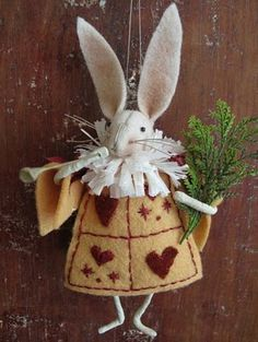 Alice in Wonderland : Decorative Rabbit for hanging on your door. Playing card felt body. Easter holiday DIY craft. More