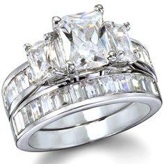 emerald cut wedding rings