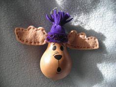 Handpainted Moose Lightbulb Ornament