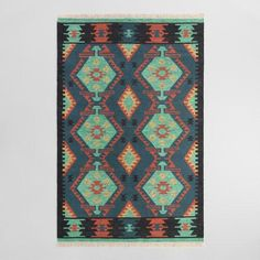 One of my favorite discoveries at WorldMarket.com: Multicolor Diamond Kilim Woven Darra Indoor Outdoor Rug