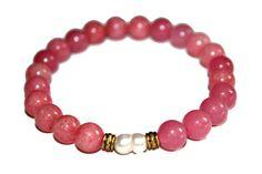 Freshwater Pearl Bracelet Pearl Jewelry Elegant Bracelet Gift for Mother Daughter Gift Pink Jade Jewelry Jade Gift Zen Gift Healing Crystals