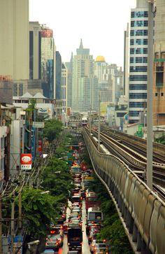 Traffic jam in Bangkok, Thailand.
