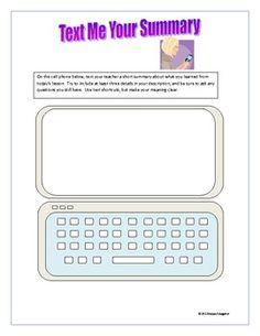 Cell Phone Summarizer Activity Ticket Out School Daze, School Fun, School Ideas, Summarizing Activities, Easel Activities, Ela Classroom, Future Classroom, Teaching Reading, Teaching Ideas