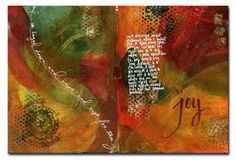 Journal spread done with acrylic paints and white gel pens.