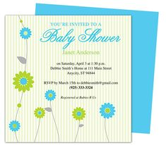 Retro Baby Shower Party Invitation Templates.  Edit yourself with Word, Publisher, Apple iWork Pages