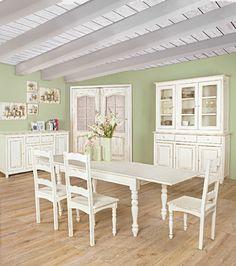 Tutta l'eleganza dello stile #shabby racchiuso in una camera da pranzo da sogno.  Linea Colette, Bizzotto.