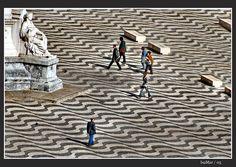 stone waves (#Lisbon, #Portugal) Traditional cobblestone sidewalk art Praça do Rossio