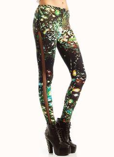 fishnet inset galaxy leggings