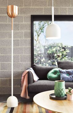 The Beacon Lighting Kooper floor lamp in copper with chalk base is a sleek uplighter with a prismatic diffuser for a softer light . The chalk matte finishes create a contemporary look and an ideal addition to any contemporary room.