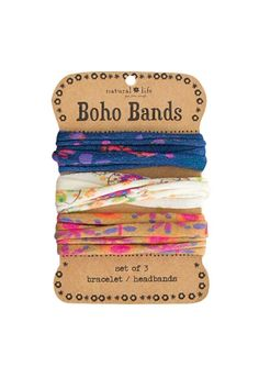 """Bands can be worn as a pony holder, headband, or bracelet. 100% polyester. Each band: 10"""" L x .25"""" W. Machine Wash Cold. Tumble Dry Low. Only non-chlorine bleach when needed.   Boho Bands by A Little Bit Hippy. Accessories - Hair Accessories Roanoke, Virginia"""