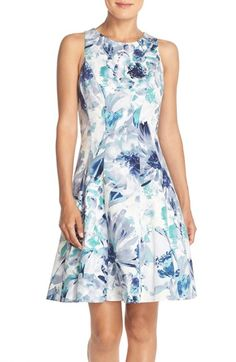Maggy London Floral Print Stretch Cotton Fit & Flare Dress