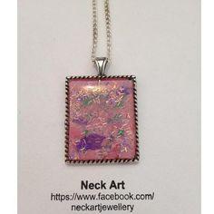 Neck Art Pendant Rectangle Silvertone on Handmade Australia