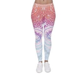 Mandala Leggings ($13) ❤ liked on Polyvore featuring pants, leggings, legging pants, white leggings, white pants, white legging pants and white trousers