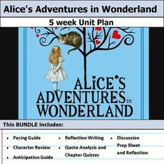 5 weeks of lesson plans. Includes pacing guide, film essay, activities, chapter quizzes, and discussions. This bundle has everything you need to get started teaching Alice's Adventures in Wonderland in an engaging way! This bundle of resources supports an in-depth analysis of the text. Students will be encouraged to think deeply and write about themes and character development with these activities. There are four resources developed explicitly for this text, and an additional two…