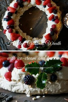 Meringue Christmas Wreaths are always fabulous, like a cheeky way of having Eton Mess as a dessert for winter. This recipe is a twist on the classic Christmas wreath by adding a hazelnut and cinnamon meringue and having a refreshing ice-cream. Christmas Activities For Families, Eton Mess, Christmas Wreaths, Xmas, Ice Cream, Whipped Cream, Sweet Recipes, Meringue, Sweet Treats
