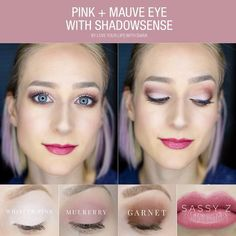 LOVE this gorgeous pink and mauve look paired with Sassy Z!  EYES: Whisper Pink Mulberry Garnet Onyx as eyeliner LashSense with UnderSense in black  LIPS: Sassy Z Lipsense