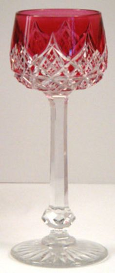 Baccarat Cranberry Cut to Clear Crystal Wine Glass