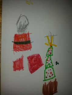 Father Christmas and Christmas tree. By Dotty December 2013