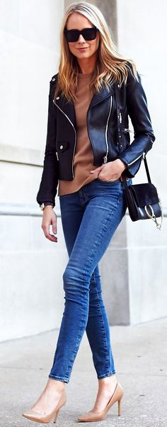 #fall #trending #outfits | Leather + Cashmere + Denim
